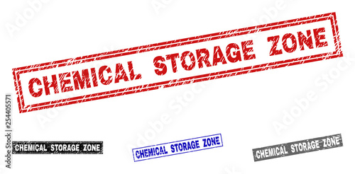 Fotografía  Grunge CHEMICAL STORAGE ZONE rectangle stamps isolated on a white background