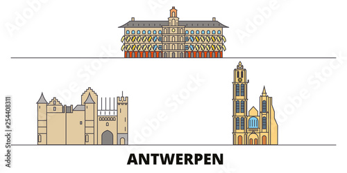 Foto op Plexiglas Antwerpen Belgium, Antwerpen flat landmarks vector illustration. Belgium, Antwerpen line city with famous travel sights, design skyline.