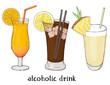 Set of three refreshing summer drinks. Orange, soda and milkshake. Colorful vector illustration in sketch style.