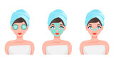 Fototapeta Sypialnia - Face mask set. Collection of woman with different