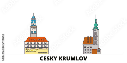 Photo  Czech Republic, Cesky Krumlov flat landmarks vector illustration