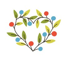 Heart-shaped Frame Or Border Made Of Branches With Berries And Leaves