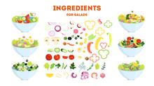 Fresh Organic Salad Set. Healthy Dinner Made Of Vegetable