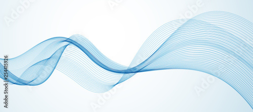 Wave line of flowing particles abstract vector background, smooth curvy shape dots fluid array. 3d shape dots blended mesh, future technology relaxing wallpaper. - 254415926
