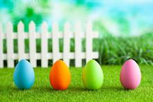 Easter Eggs On Grass, White Fe...
