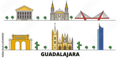 Mexico, Guadalajara flat landmarks vector illustration. Mexico, Guadalajara line city with famous travel sights, design skyline.