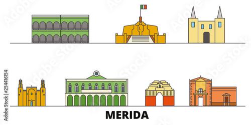 Fotografie, Obraz Mexico, Merida flat landmarks vector illustration