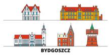 Poland, Bydgoszcz Flat Landmarks Vector Illustration. Poland, Bydgoszcz Line City With Famous Travel Sights, Design Skyline.