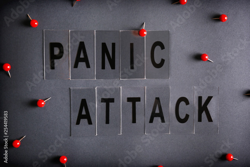 Fotografía  Panic attack and mental health awareness concept image with a lot of copy space for text on dark background
