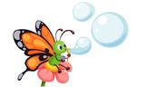 Fototapeta Fototapety na ścianę do pokoju dziecięcego - Beautiful butterfly blowing bubbles vector illustration