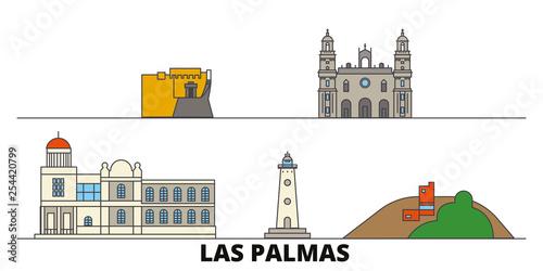 Spain, Las Palmas flat landmarks vector illustration. Spain, Las Palmas line city with famous travel sights, design skyline.