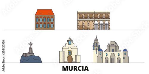 Spain, Murcia flat landmarks vector illustration. Spain, Murcia line city with famous travel sights, design skyline.