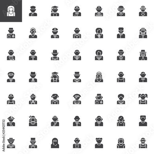 Fotografía  Faceless people avatar vector icons set, modern solid symbol collection, filled style pictogram pack