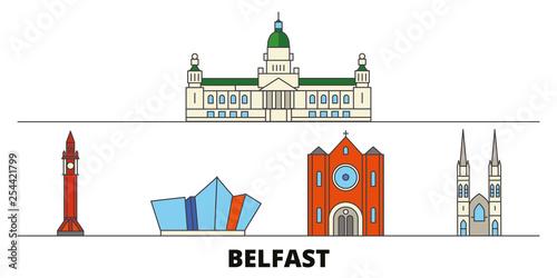 Fotomural United Kingdom, Belfast flat landmarks vector illustration