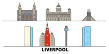 United Kingdom, Liverpool Flat Landmarks Vector Illustration. United Kingdom, Liverpool Line City With Famous Travel Sights, Design Skyline.