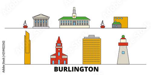 Obraz na plátně  United States, Burlington flat landmarks vector illustration