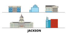 United States, Jackson Flat Landmarks Vector Illustration. United States, Jackson Line City With Famous Travel Sights, Design Skyline.