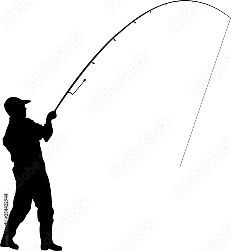 fisherman with a fishing rod, throws a fishing rod, fishing Canvas Print