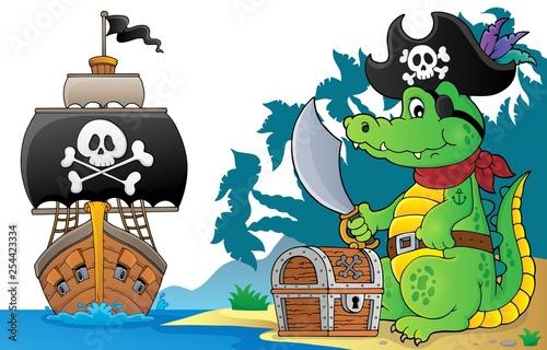 Foto op Aluminium Voor kinderen Pirate crocodile theme 6