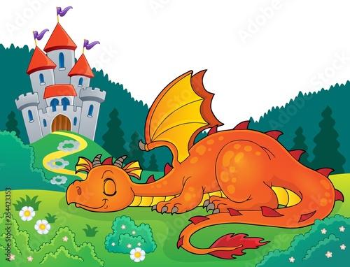Foto op Aluminium Voor kinderen Sleeping dragon theme image 4