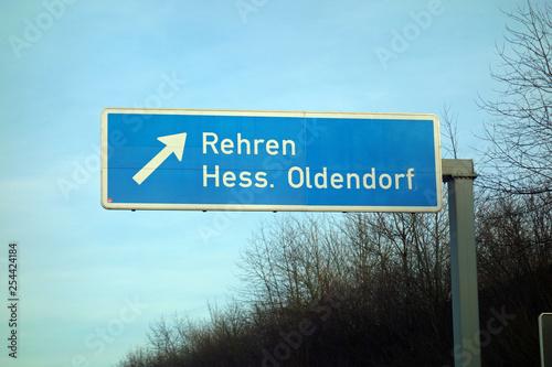 Fotografía  autobahnschild, rehren, hess. oldendorf