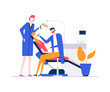 At the dentist - colorful flat design style illustration