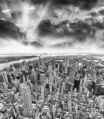 Midtown Manhattan aerial skyline at sunset, New York