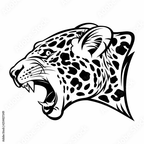 Tela Growling jaguar vector image.