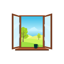 Open Window On White Background. Open Window Overlooking The Beautiful Spring Landscape: Meadows, Mountains, Trees. On The Windowsill Is Worth Mug. Flat Style Vector Illustration.