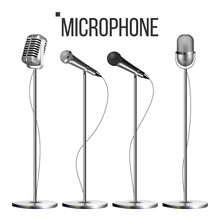 Microphone Set With Stand Vector. Music Icon. Vintage Concert. Modern And Retro. Audio Communication Musical Symbol. Performance Object. Illustration