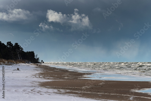 Fotografie, Obraz  Rough Baltic sea, coast of Latvia.