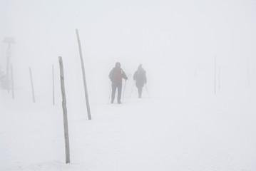 ludzie wędrują we mgle, zima