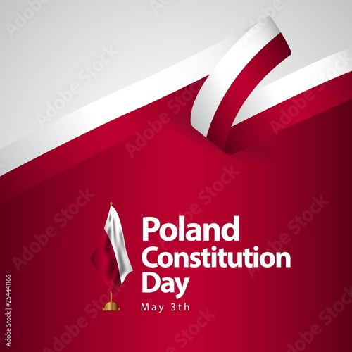 Poland Constitution Day Flag Vector Template Design Illustration