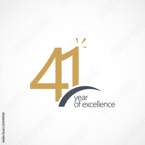 Tela 41 Year of Excellence Vector Template Design Illustration