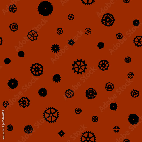 Fotografie, Obraz  abstract vector black flat gears seamless pattern