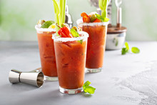 Bloody Mary Cocktails With Garnishes For Brunch