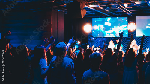 crowd of people at worship concert Wallpaper Mural