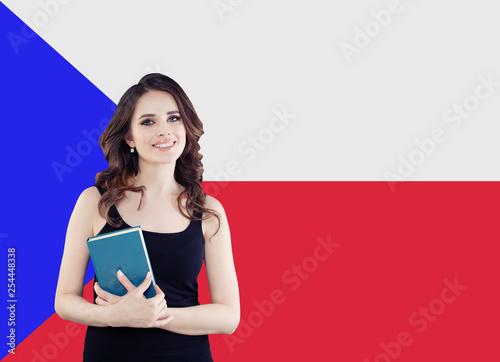 Photo  Smiling woman portrait against the Czech Republic flag