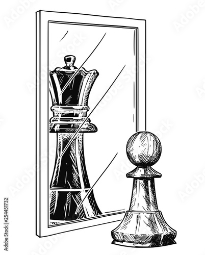 Fotografie, Obraz  Cartoon drawing and conceptual illustration of white chess pawn reflecting in mirror as black king