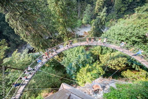 Fotografía  Capilano suspension bridge aerial view, British Columbia, Canada