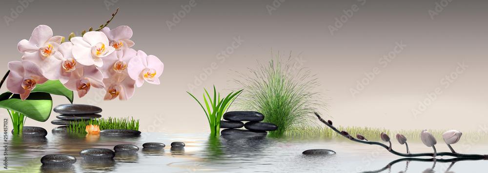 Fototapeta Wandbild mit Orchideen, Gras und Steinen im Wasser
