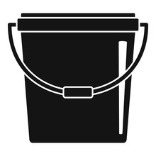 Plastic Bucket Icon. Simple Illustration Of Plastic Bucket Vector Icon For Web Design Isolated On White Background