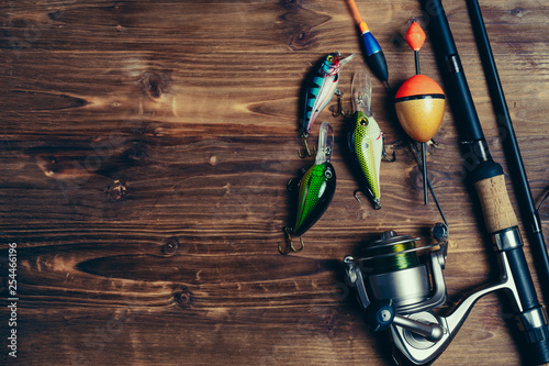 Cuadros en Lienzo Art sports fishing rod and tackle background