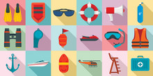 Sea Safety Icons Set. Flat Set...