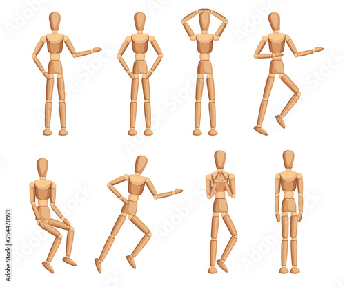 Obraz Wooden mannequin collection. Dummy with different poses. Cartoon flat style. Vector illustration isolated on white background - fototapety do salonu