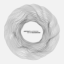 Minimalistic Design Background Of Abstract Background. Many Random Circle With Noise Effect. Vector Illustration Template For Music Album's Cover.