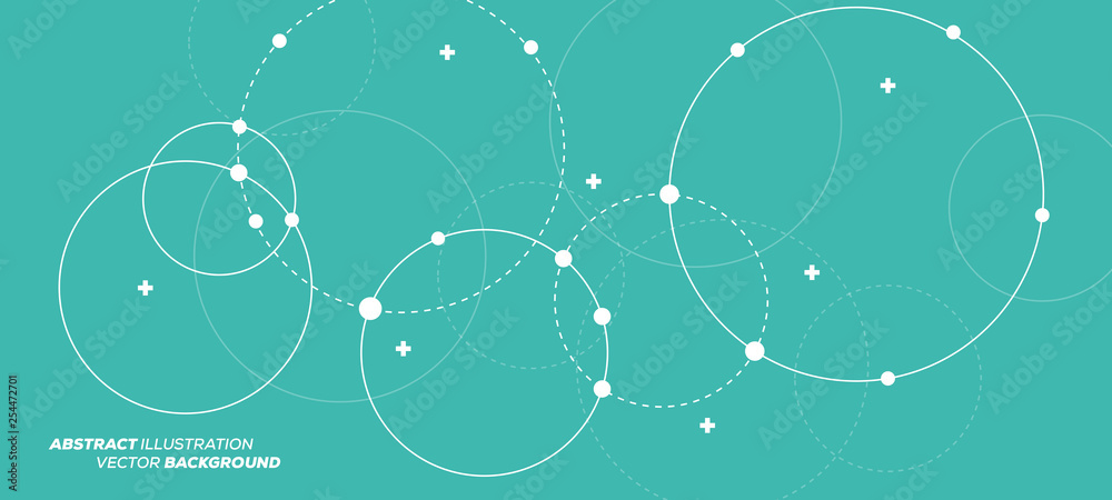 Fototapety, obrazy: Abstract vector illustration with overlapping circles, dots and dashed circles. Science and connection concept. Wide molecule structure background.