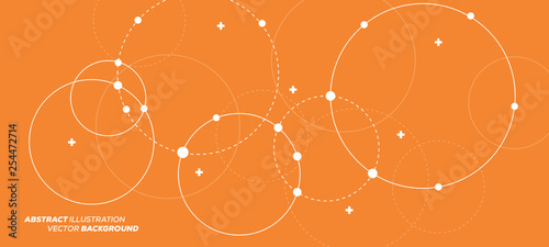 Abstract vector illustration with overlapping circles, dots and dashed circles Tableau sur Toile