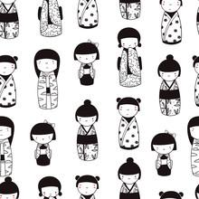 Cute Kokeshi Dolls. Various Characters. Traditional Japanese Toys. Kawaii Illustration. Hand Drawn Graphic Vector Seamless Pattern