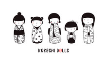 Cute Kokeshi Dolls. Various Ch...